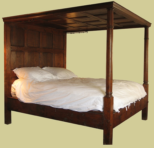Oak Tester Panelled 4-Poster Bed 17th Century Jacobean Style