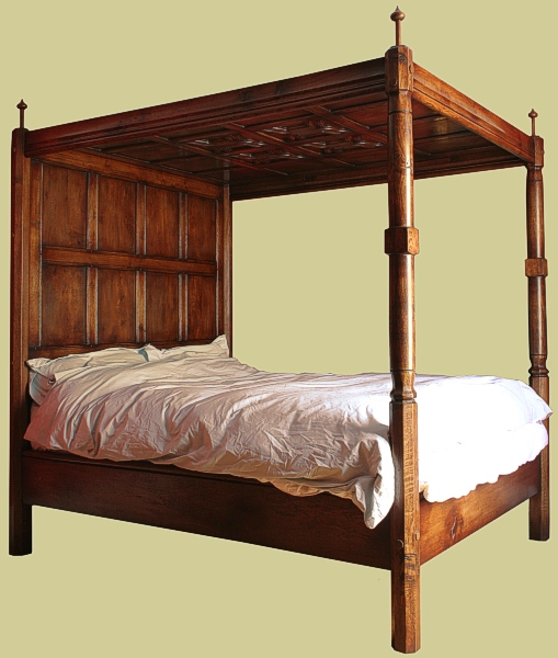 Handmade 4 poster bed solid oak 16th century tudor style for Tudor style bedroom
