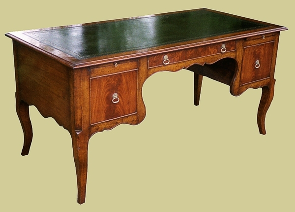 Fruitwood Desk With Leather Top