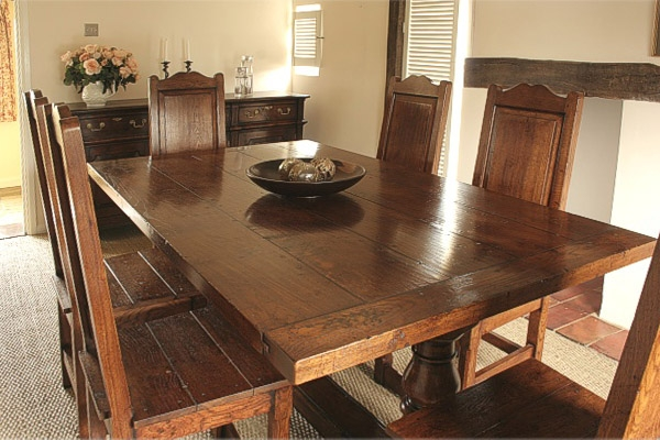Oak table and chairs in period Suffolk country cottage