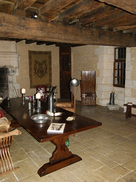Medieval style table & boarded oak settle in French property