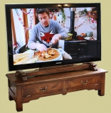 Traditionally styled oak TV stand & special bespoke mount