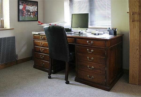 Bespoke handmade cherry wood pedestal desk in clients study
