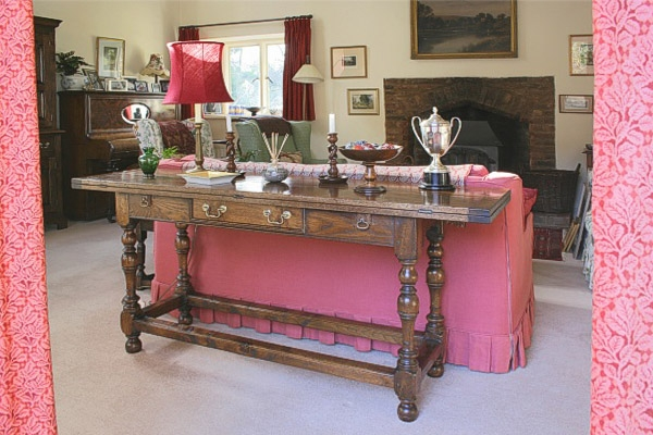 Folding oak table in Surrey country cottage sitting room