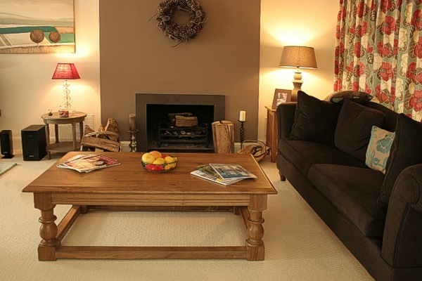 Traditional style oak coffee table in contemporary room