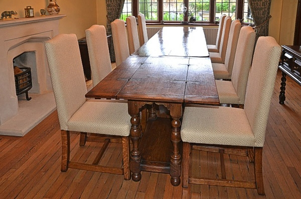 Folding oak table used to extend client C17th dining table