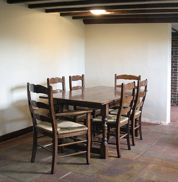 Small oak refectory table & country chairs in Sussex cottage