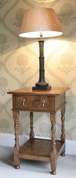 Oak potboard bedside cabinet, shown here in our clients Surrey home.
