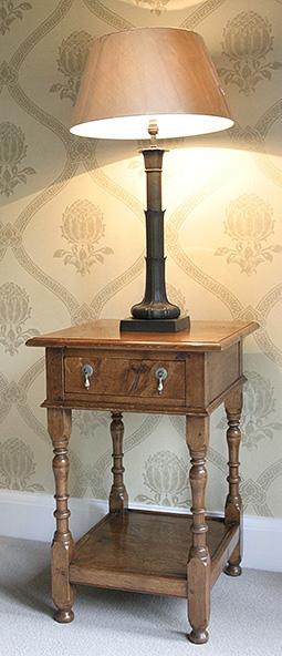 Oak potboard bedside cabinet