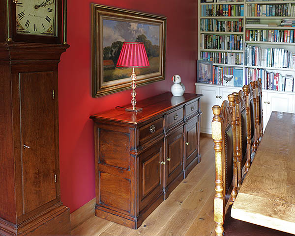 Bespoke Montgomeryshire dresser base, pictured in the dining room of our clients Sussex home.