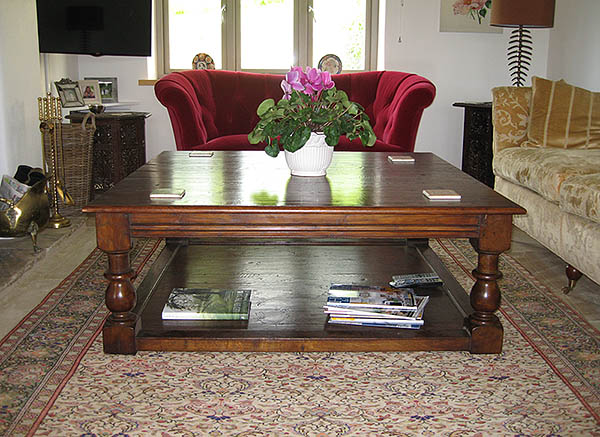 Large period style oak coffee table, taking pride of place in the sitting room of our clients Wiltshire home.