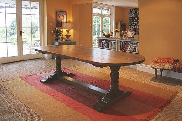 D-end oak pedestal dining table in Sussex cottage