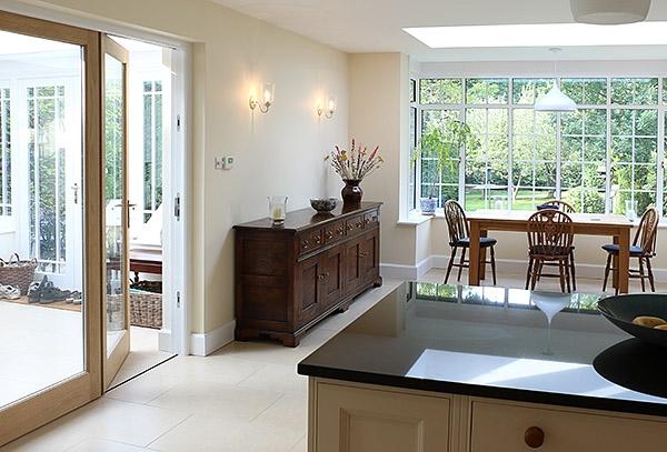 Traditional style sideboard oak dresser in modern interior