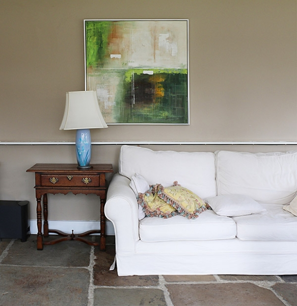 Period style lamp or side table in modern style sitting room