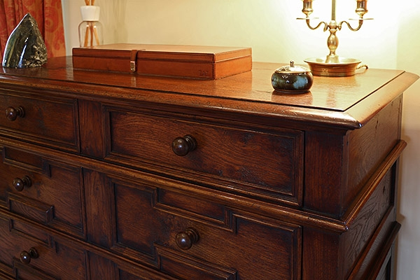 Detail of 17th century style geometric oak chest of drawers