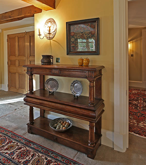 James 1st period style oak court cup-board, or buffet, in the dining room of our clients Warwickshire country home.
