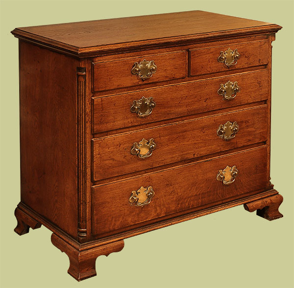 5 Drawer Chest Of Drawers Period Style With Fluted Columns