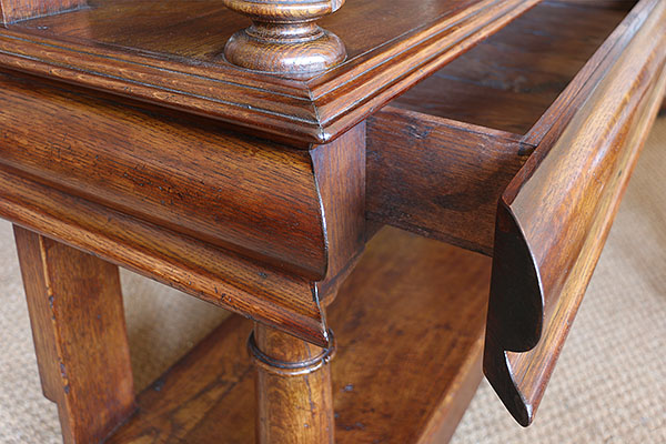 Mid drawer detail on our James 1st style bespoke oak court cupboard.
