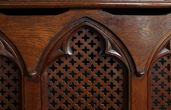 Lutyens Gothic style oak radiator cover detail