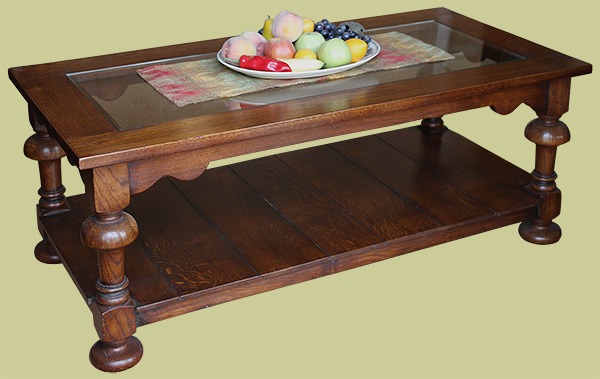 Glass top coffee table with period features and potboard from solid oak boards.
