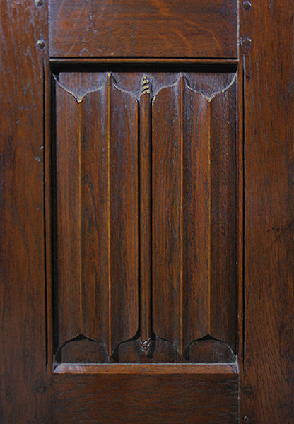 Hand carved linenfold panel from 16th century style oak wardrobe.