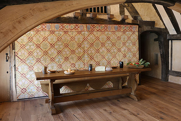 Medieval style oak trestle table and mid 16th century style oak bench, in Wealden Hall House, dated 1436.