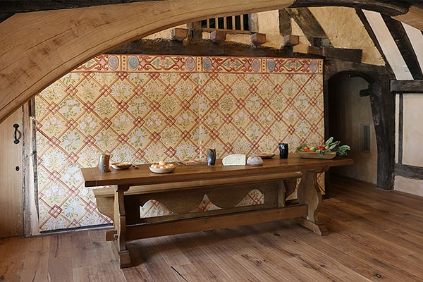 C16th style oak trestle table & bench in Wealden hall house