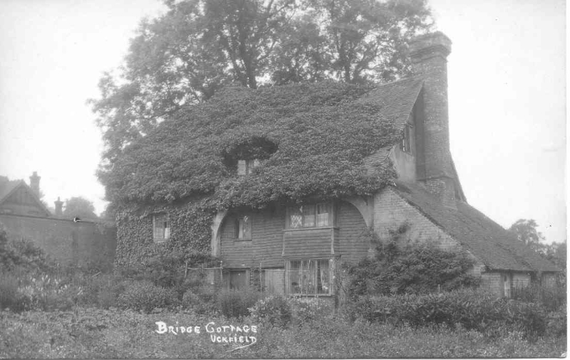 An old photo of Bridge Cottage, showing the collapsed end bay replaced with a single storey lean-to