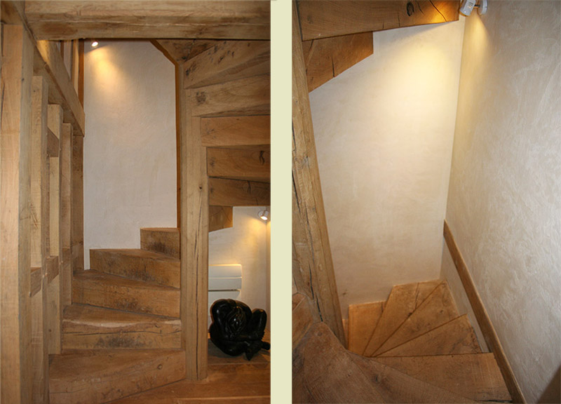 Oak spiral staircase in 13th century Sussex manor house