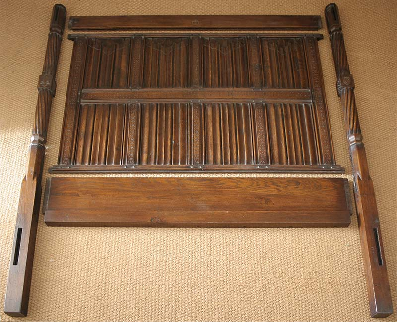 Hand carved oak four poster bed headboard assembly