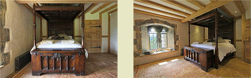 Four poster bed and oak chest in 13th century Sussex manor house
