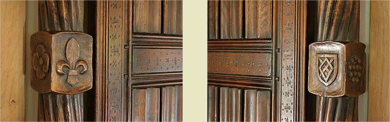 Tudor style oak four poster bed  headboard post carvings