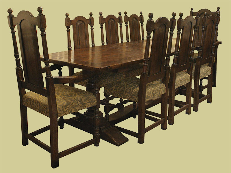 Period style oak pedestal dining table, 6 side chairs and 2 armchairs with upholstered seats