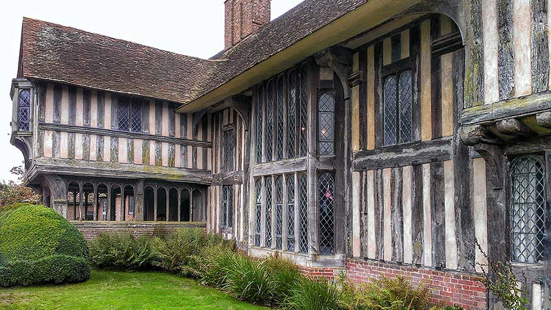 Great Dixter front elevations showing the great hall and porch extension