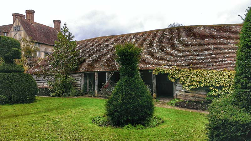 The redundant cow shed, or hovel, in the Topiary Garden of Great Dixter