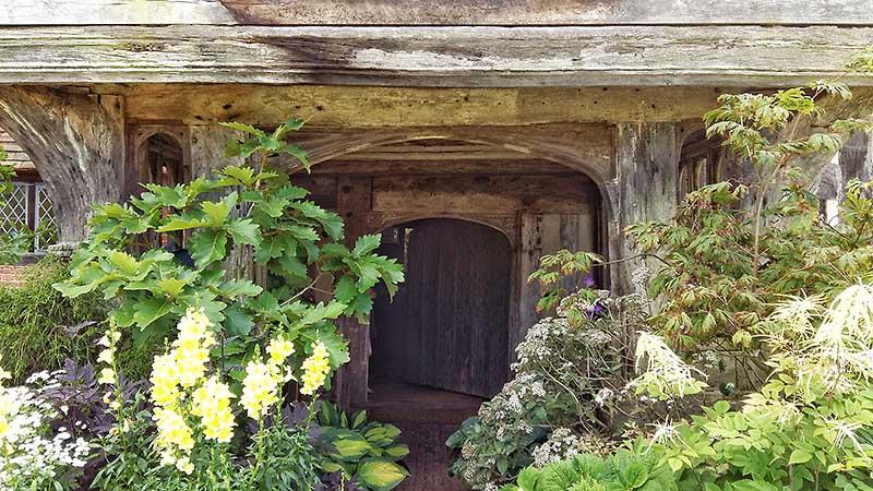 The oak framed entrance porch of Great Dixter
