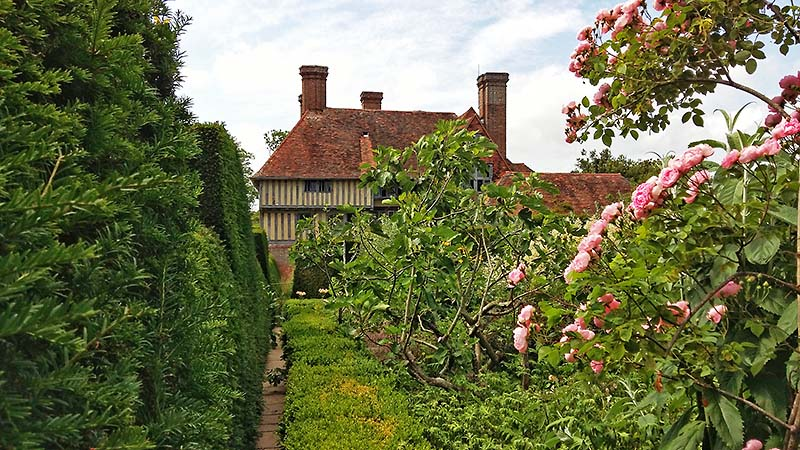 16th century timber framed extension from Great Dixter garden