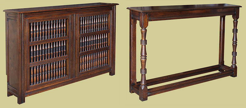 17th century style oak radiator cover and complimentary console table