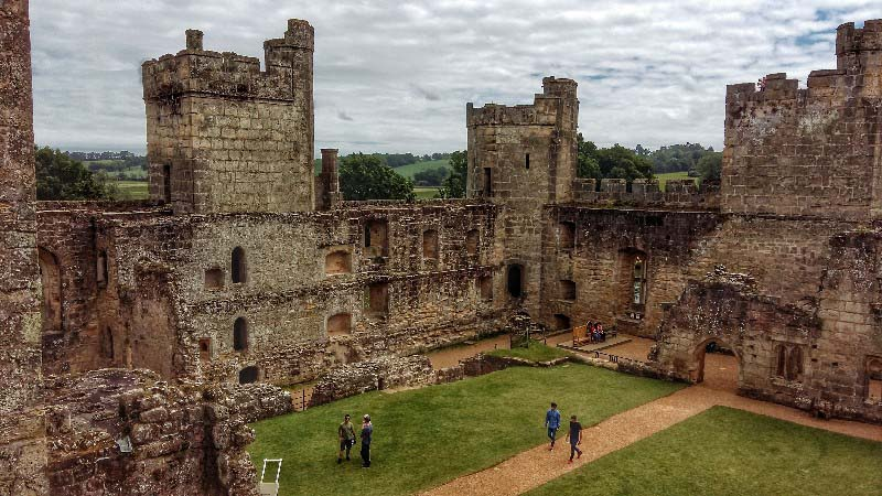 Internal south easterly view of Bodium Castle showing great hall and private quarters