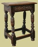 Elizabethan style oak carved joined stool