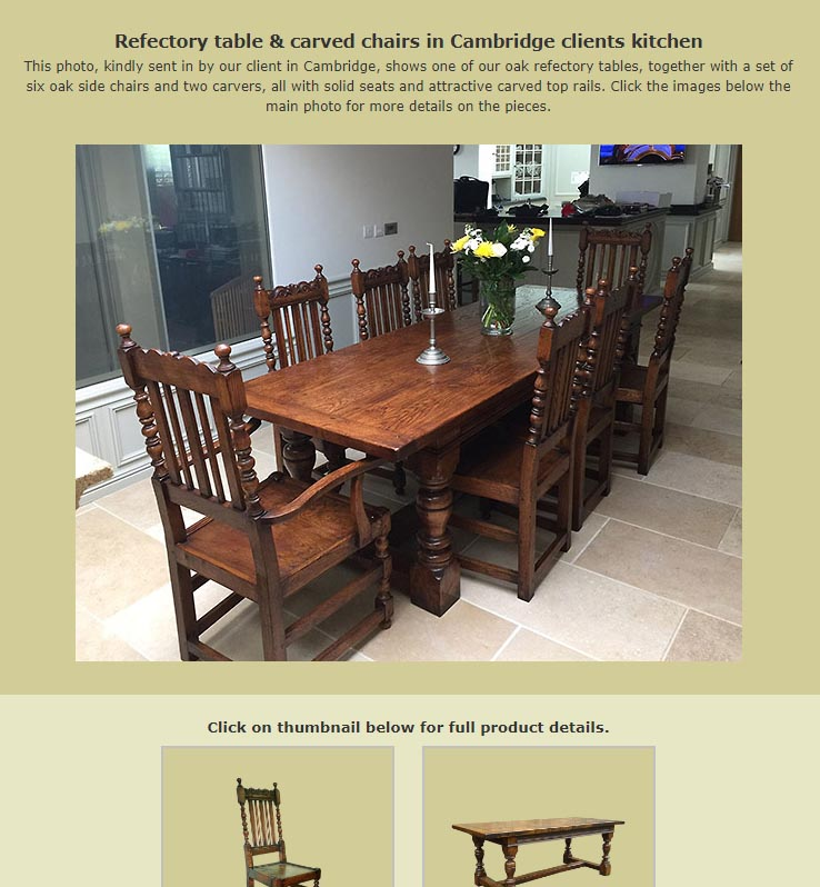 Bespoke dining table and chairs added to dining room interiors collection