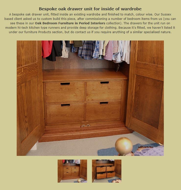 Custom made drawer unit inside wardrobe added to miscellaneous interiors collection