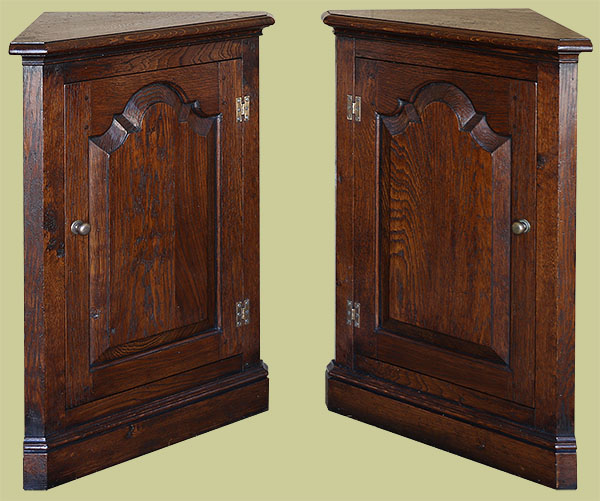 Period style oak cupboards to fit into room corner