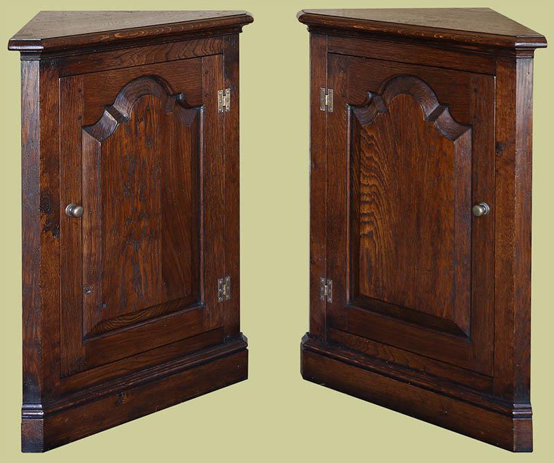 Oak low corner cupboards