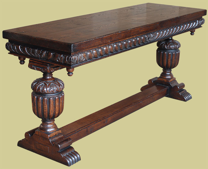 16th century Elizabethan style hand-made and hand-carved oak console table