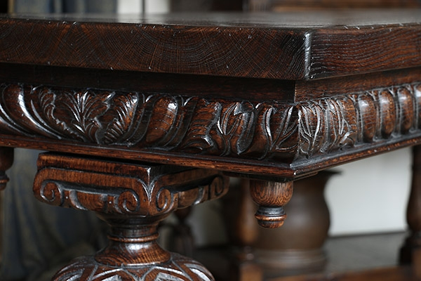 Rail carving detail on Elizabethan style oak console table
