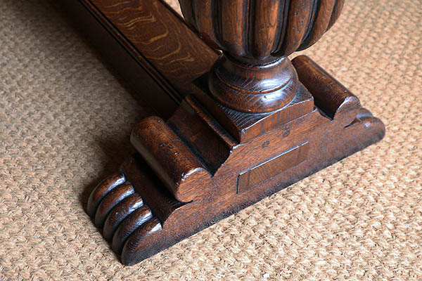 Foot carving detail on 16th century Elizabethan style carved oak console table