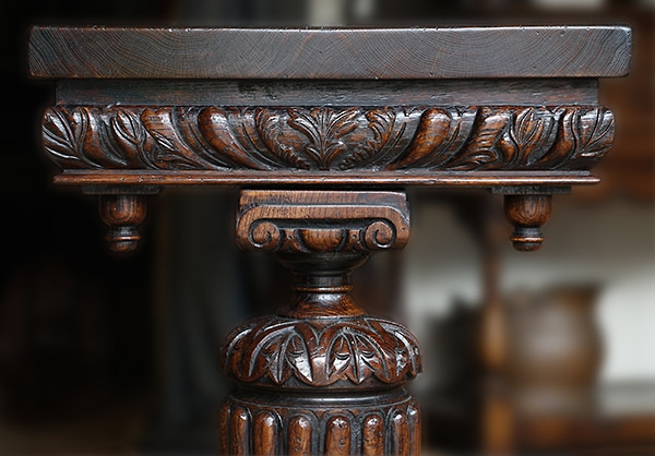 Pedestal carving detail on C16th style oak console table