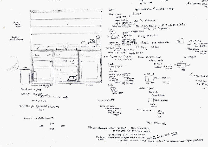 Oak dresser sketch and notes by client