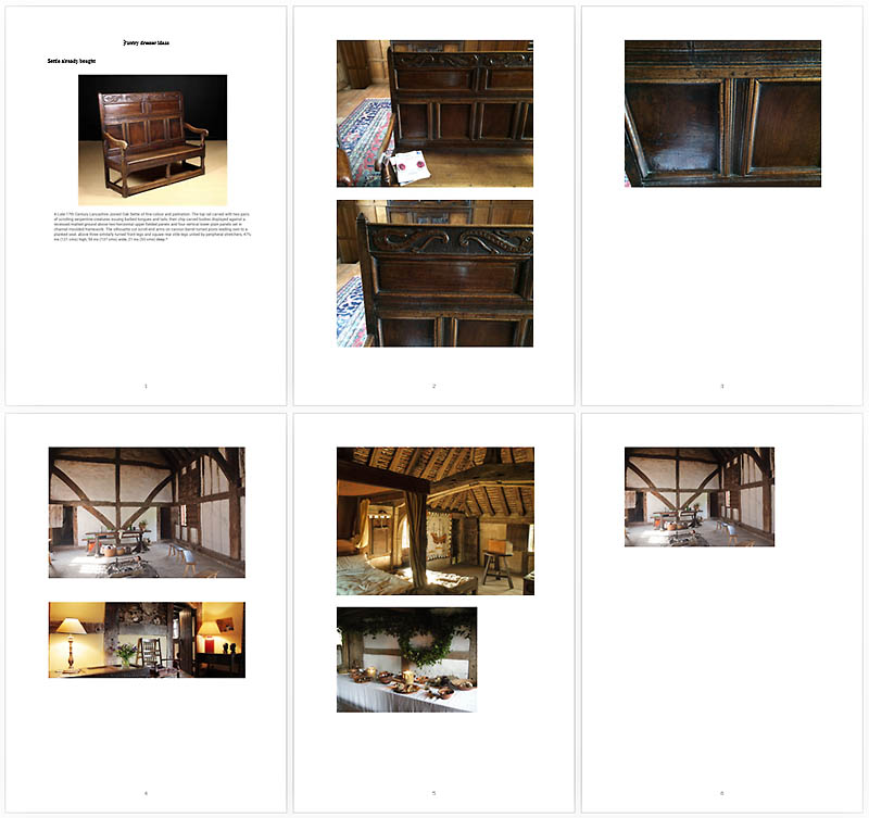Client notes and inspiration for Nick at Early Oak Reproductions
